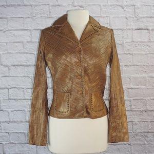 Margaret Godfrey Brown Leather Studded Jacket